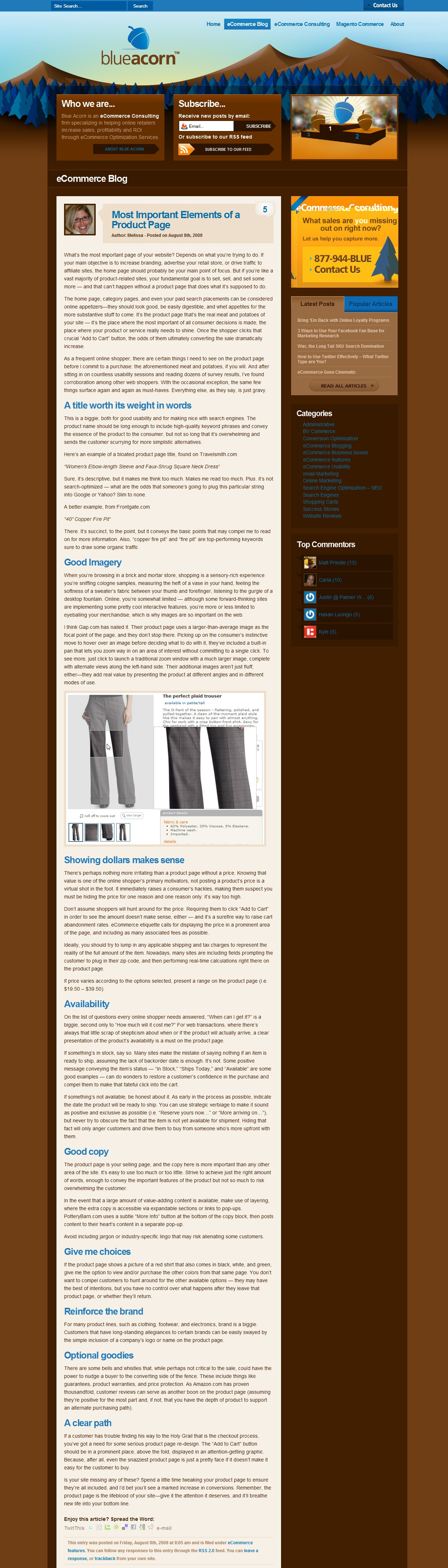 Ecommerce Article: Product Page