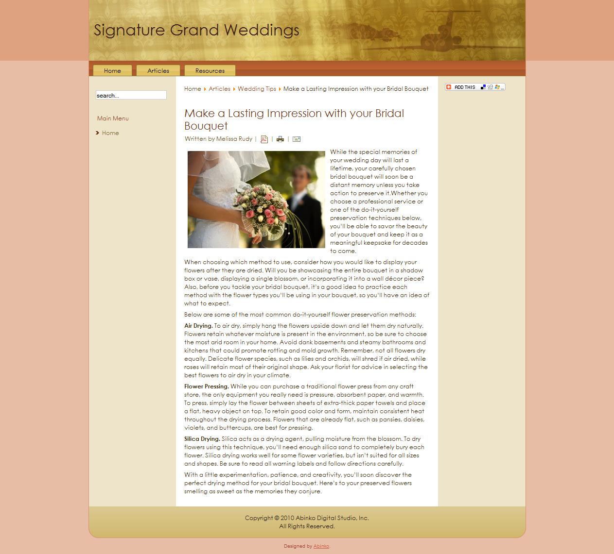 Wedding Article: Preserving Your Bridal Bouquet