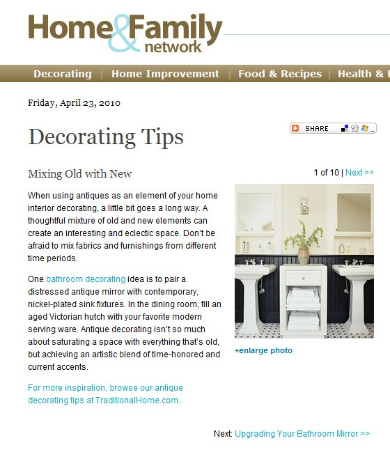 Home Decor Article: Mixing Old with New