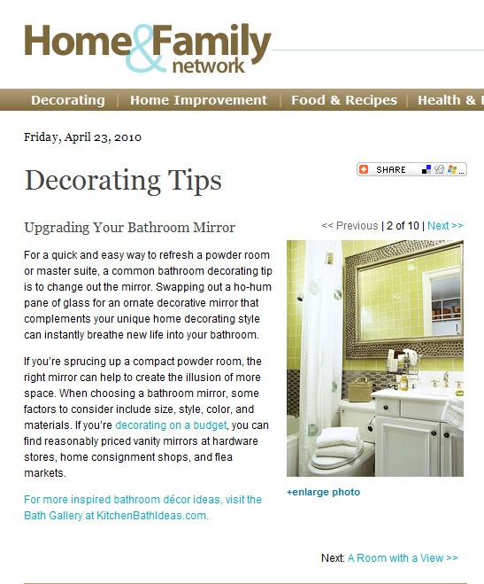 Home Decor Article: Bathroom Mirrors