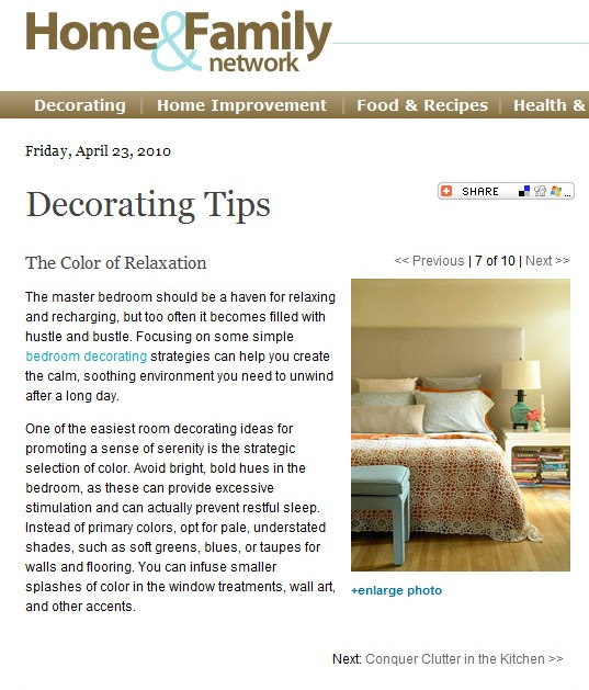 Home Decor Article: Bedroom Colors