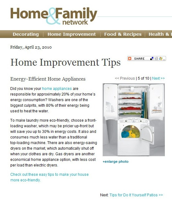 Home Maintenance Article: Energy-Efficient Appliances