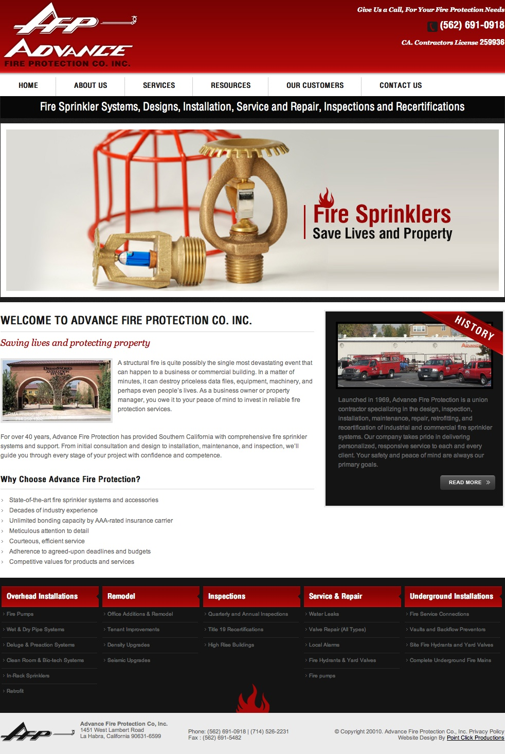 Home Page Copy: Fire Protection