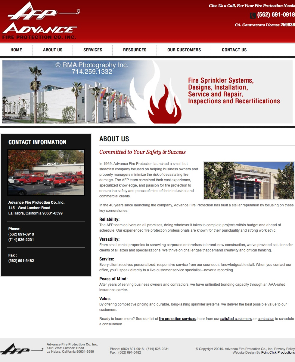 About Page Copy: Fire Protection