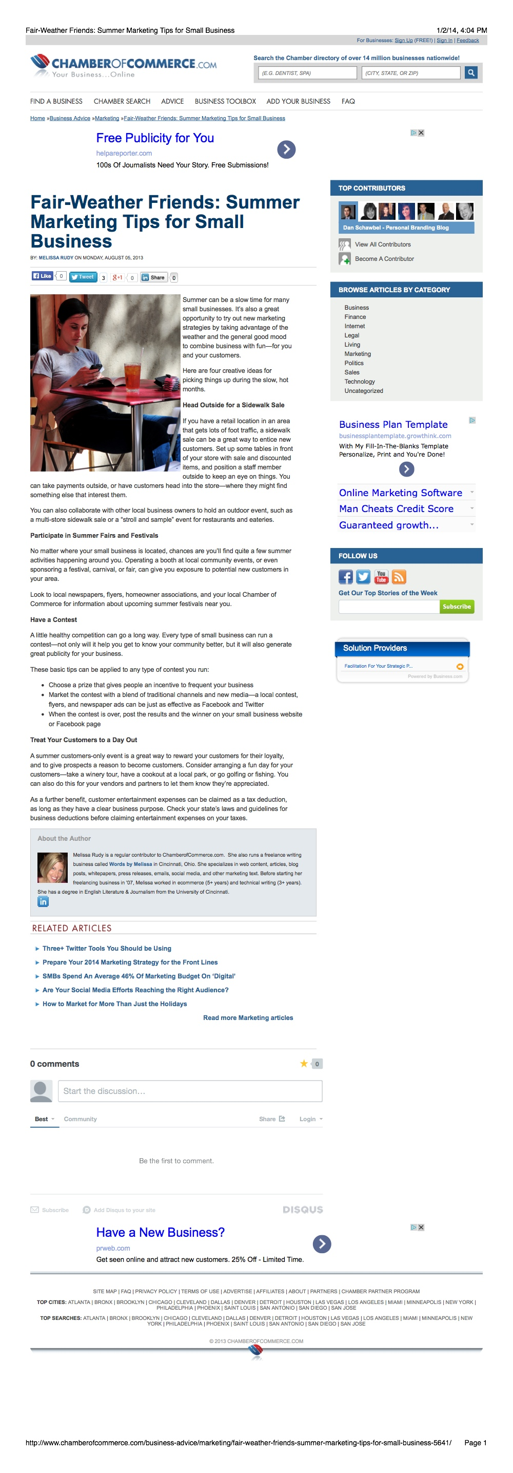 Marketing Article: Chamber of Commerce