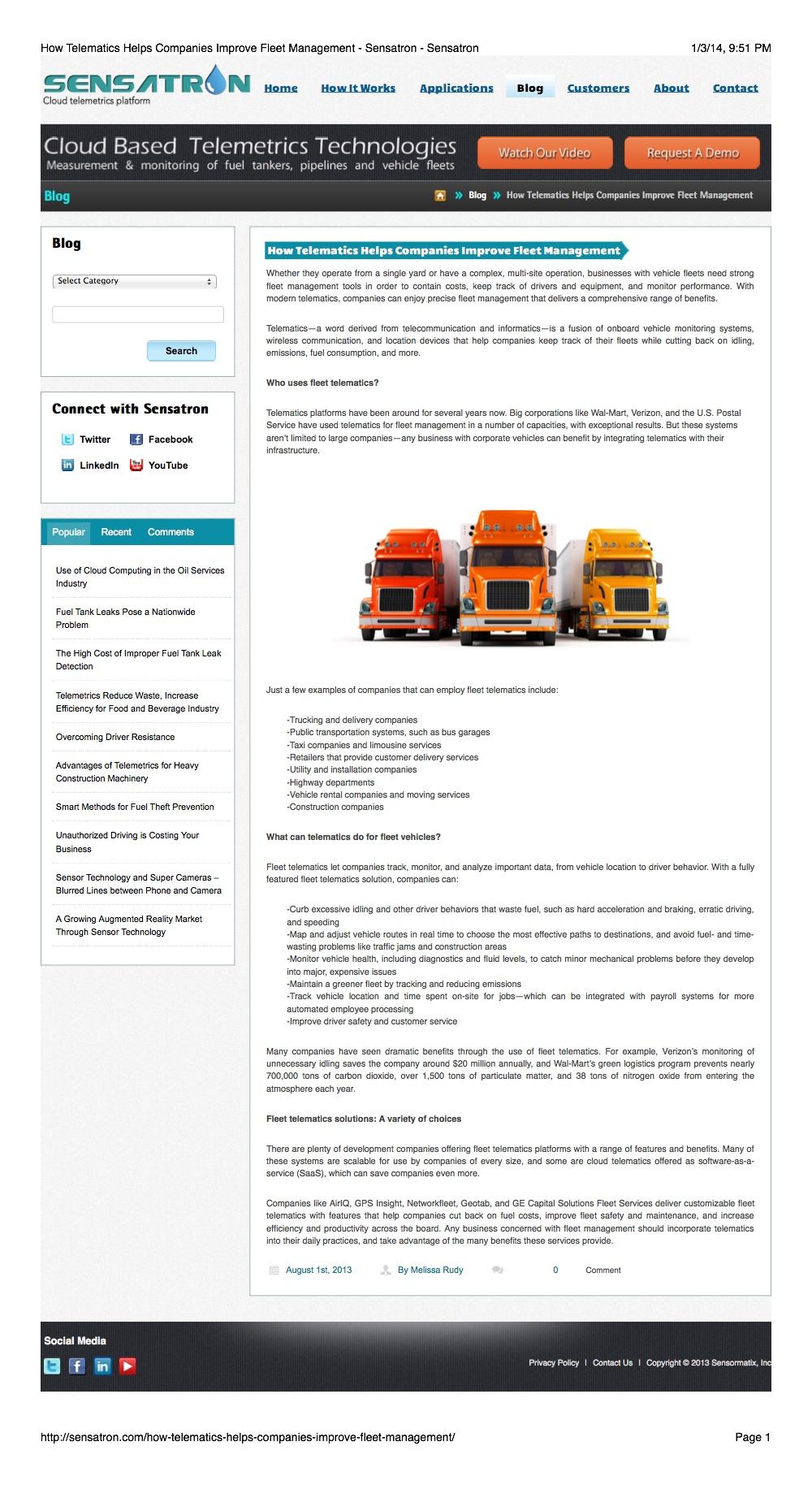 Logistics Article: Fleet Management