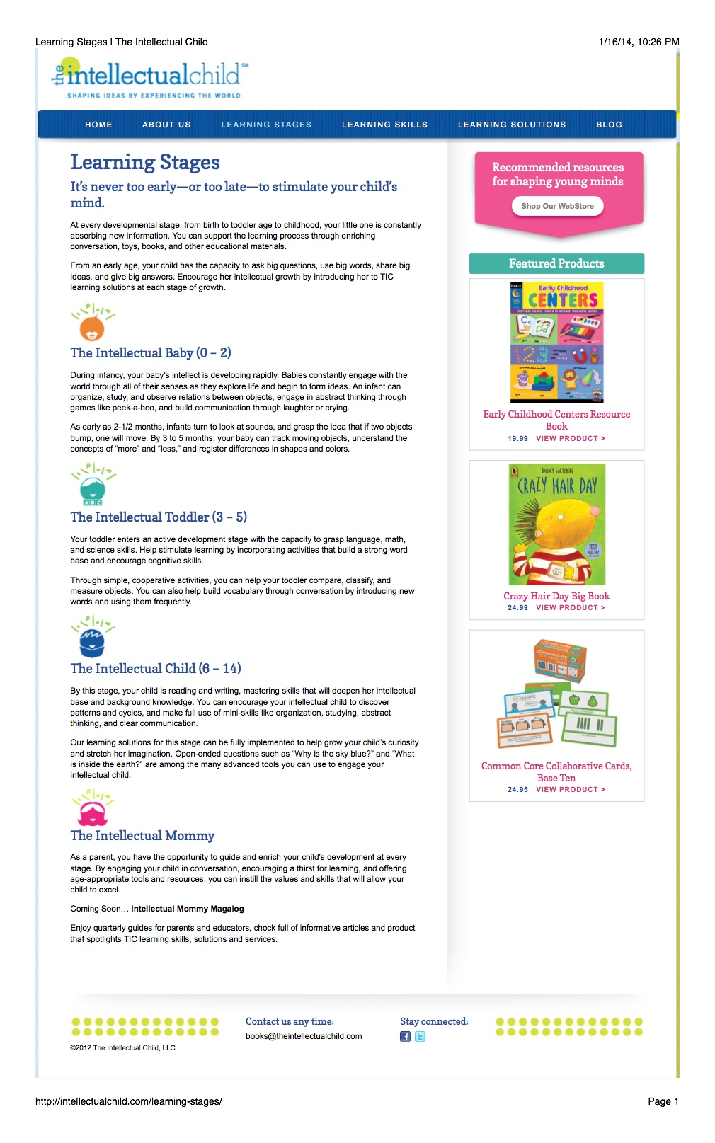 Web Copy: Children's Learning Stages