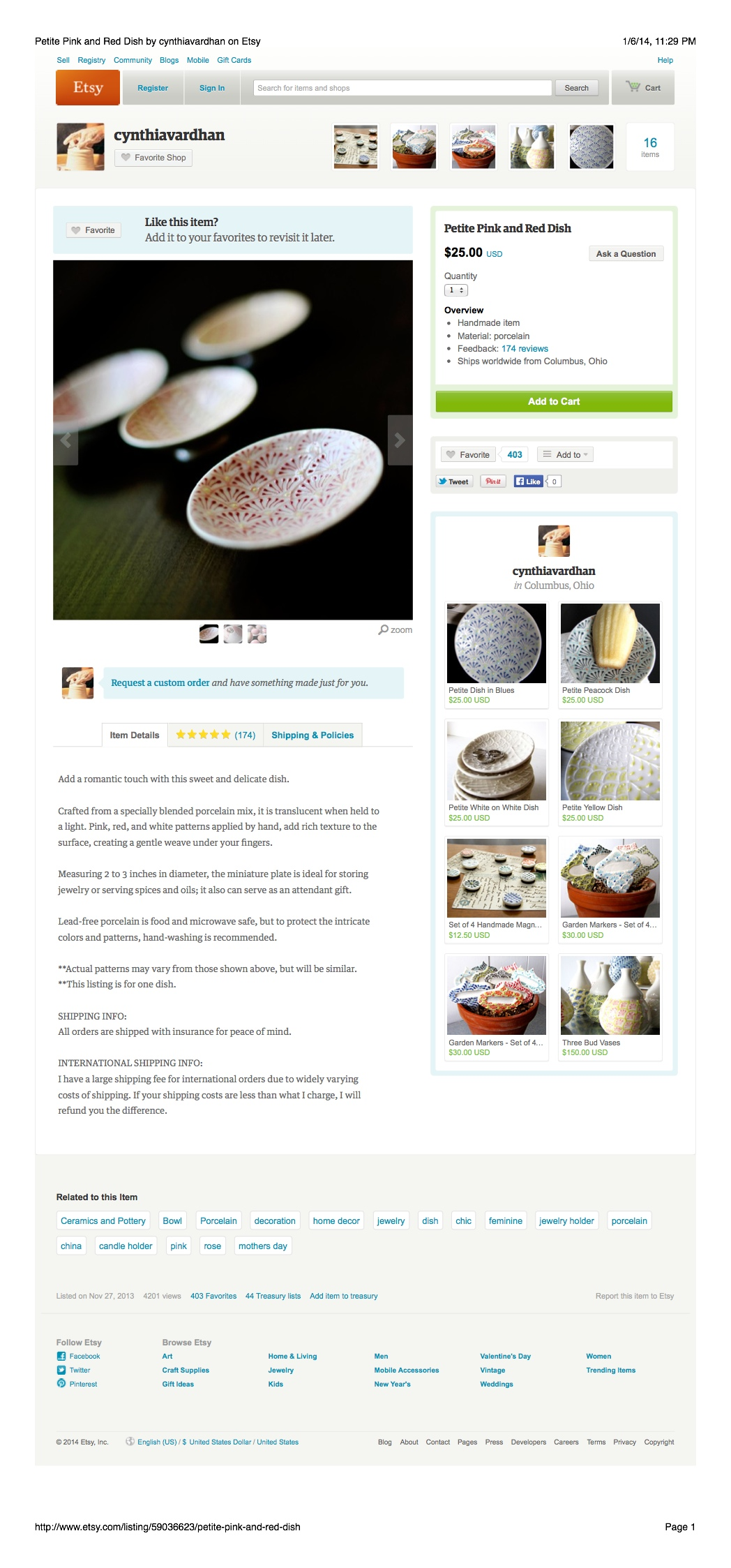 Product Description: Handmade Pottery