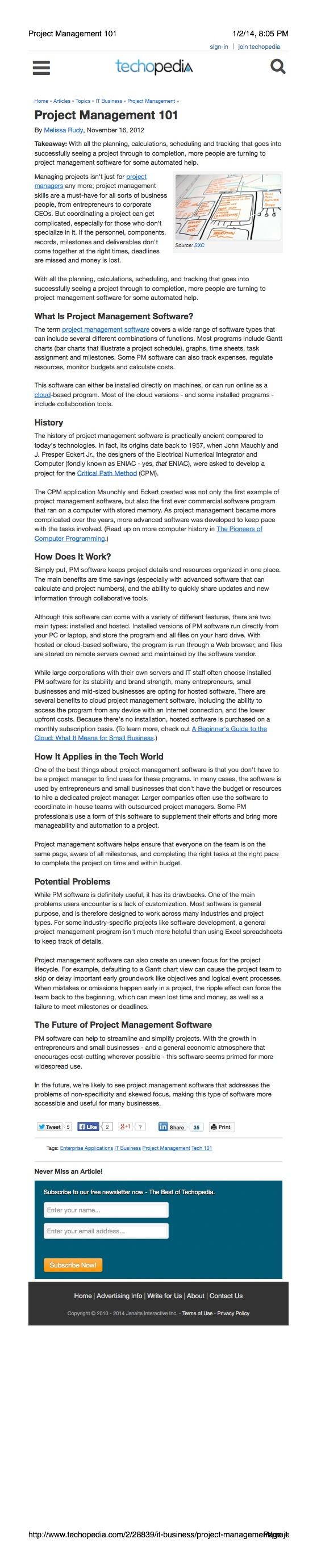 Project Management Article: Techopedia