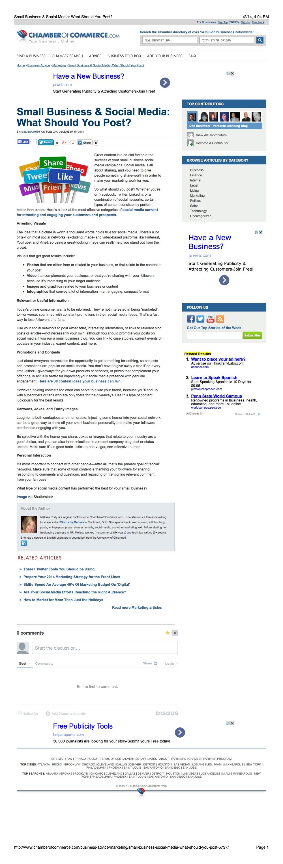 Social Media Article: Chamber of Commerce
