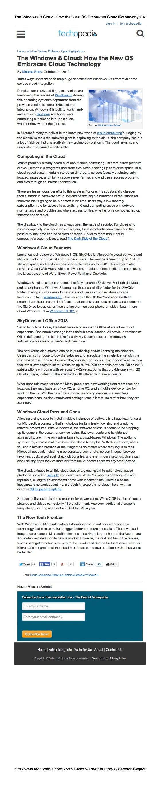 Windows 8/Cloud Computing Article
